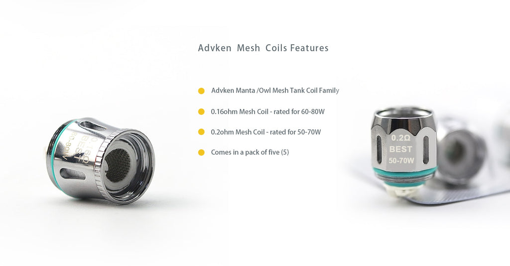 Advken Replacement 0.16ohm / 0.2ohm Mesh Coil Head Features