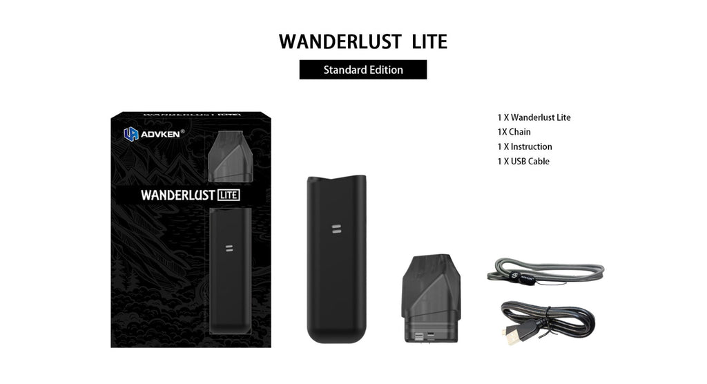 Advken Wanderlust Lite Vape Pod System Starter Kit 1000mAh 2ml Package Includes