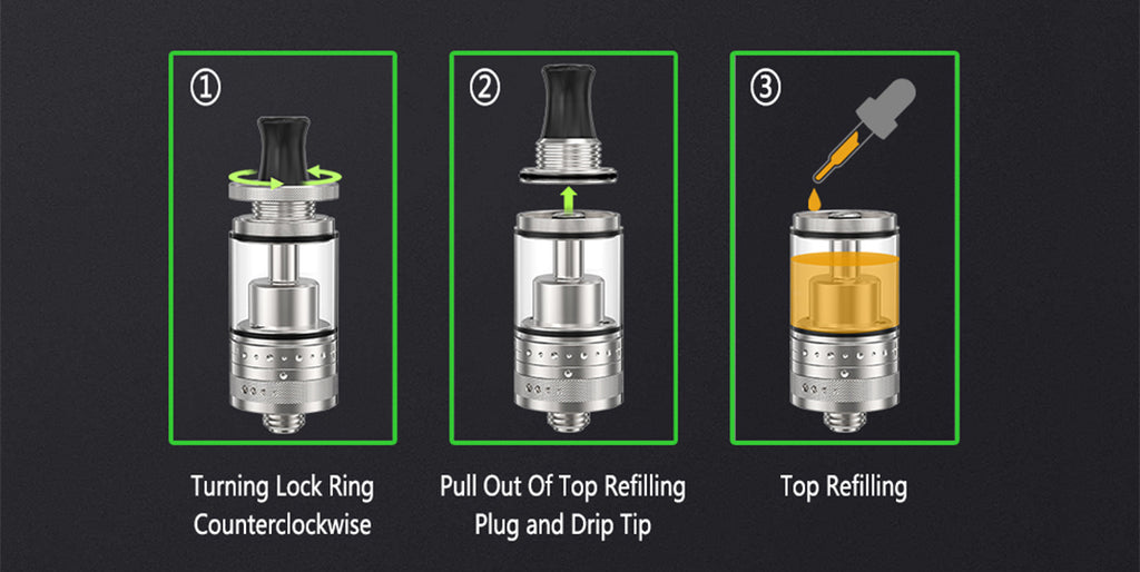 Ambition Mods Purity MTL RTA 2ml 18mm Filling E-liquid Steps