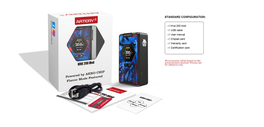 Artery Hive TC Box Mod 200W Package Contents