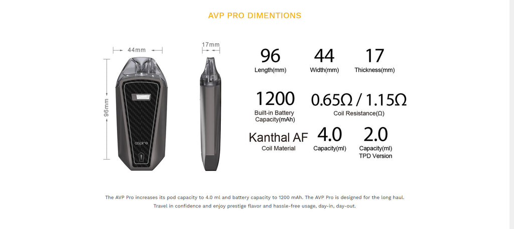 Aspire AVP Pro Pod System VW Starter Kit 1200mAh 4ml Dimension
