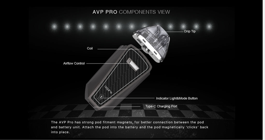 Aspire AVP Pro Pod System VW Starter Kit 1200mAh 4ml Components View