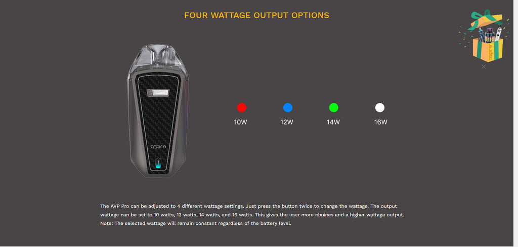 Aspire AVP Pro Pod System VW Starter Kit 1200mAh 4ml Four Wattage Output Options