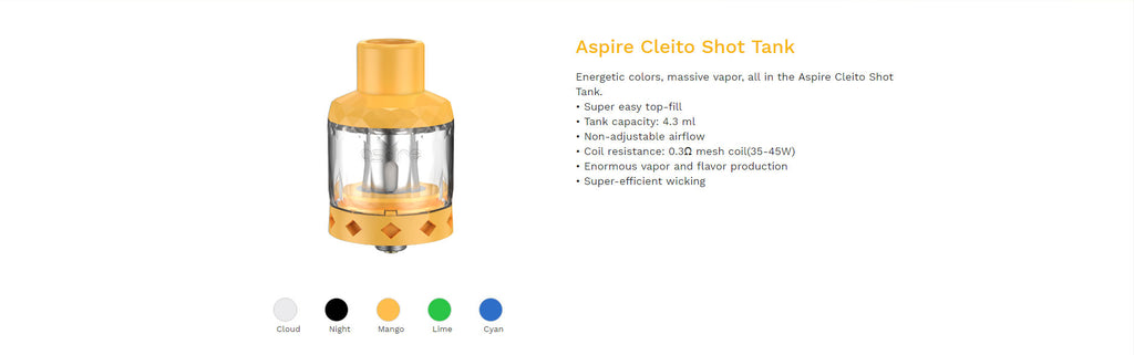 Aspire Cleito Shot Tank 4.3ml 27mm 3PCs Parameter