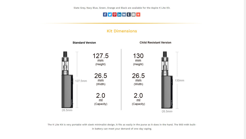 Aspire K Lite VV Mod Kit Parameter
