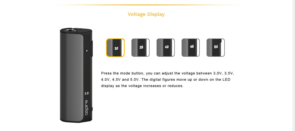 Aspire K Lite VV Mod Kit Voltage Display