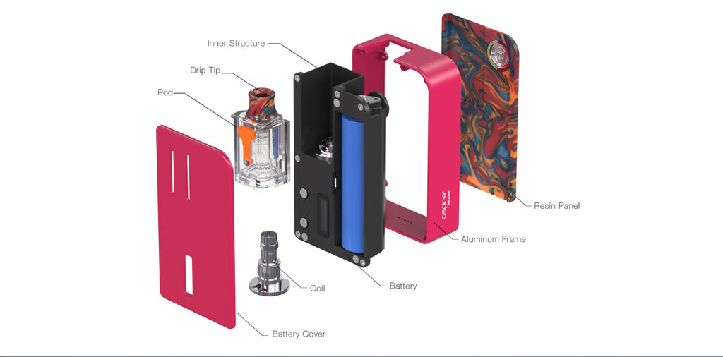 Aspire Mulus Pod System VW Starter Kit 80W 4.2ml Exploded View