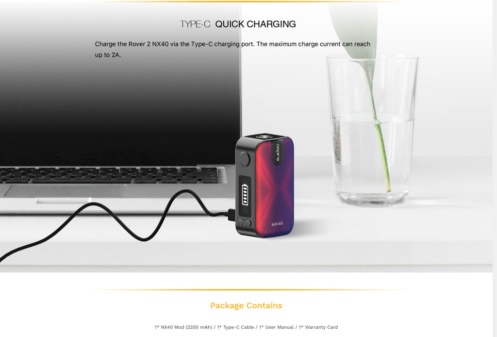 Aspire NX40 2200mAh VW Box Mod 40W Charging By Type-C