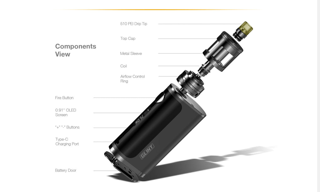 Aspire Nautilus GT 75W VW Mod Kit Components View