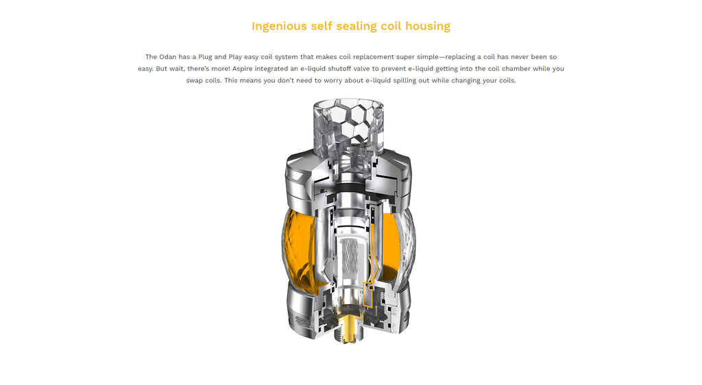 Aspire Odan Sub Ohm Tank Ingenious Self Sealing Coil Housing