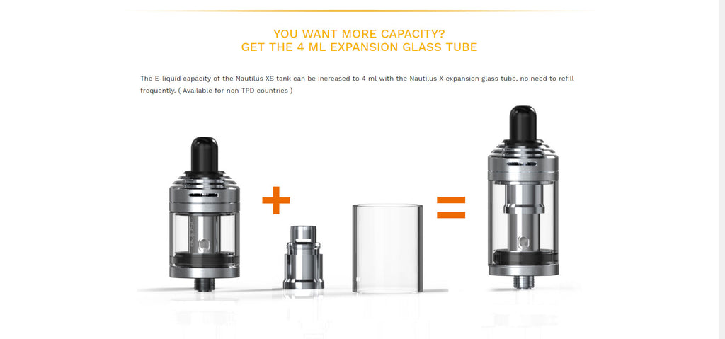 Aspire Nautilus XS Tank Glass Tank Tube Can Change