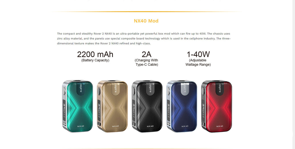 Aspire Rover 2 VW Mod Kit with Nautilus XS Tank 5 Colors Optional