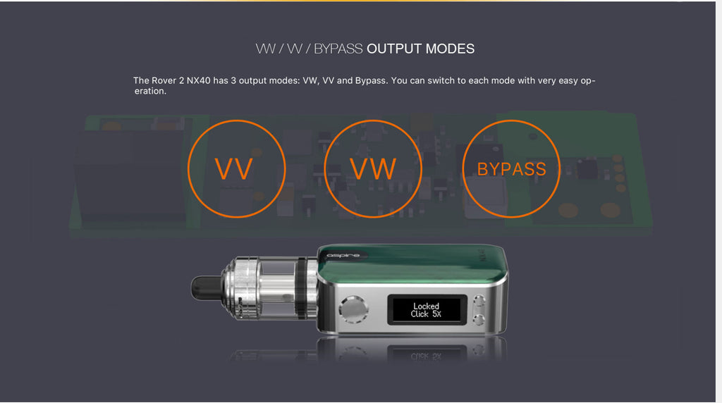 Aspire Rover 2 VW Mod Kit VV / VW/ Bypass Output Modes