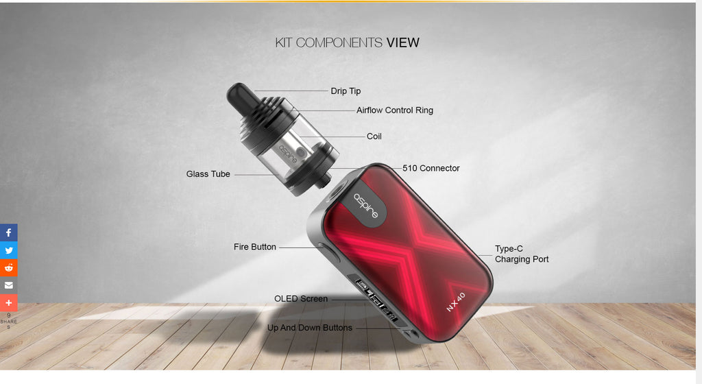 Aspire Rover 2 VW Mod Kit with Nautilus XS Tank 40W 2200mAh 4ml Components View