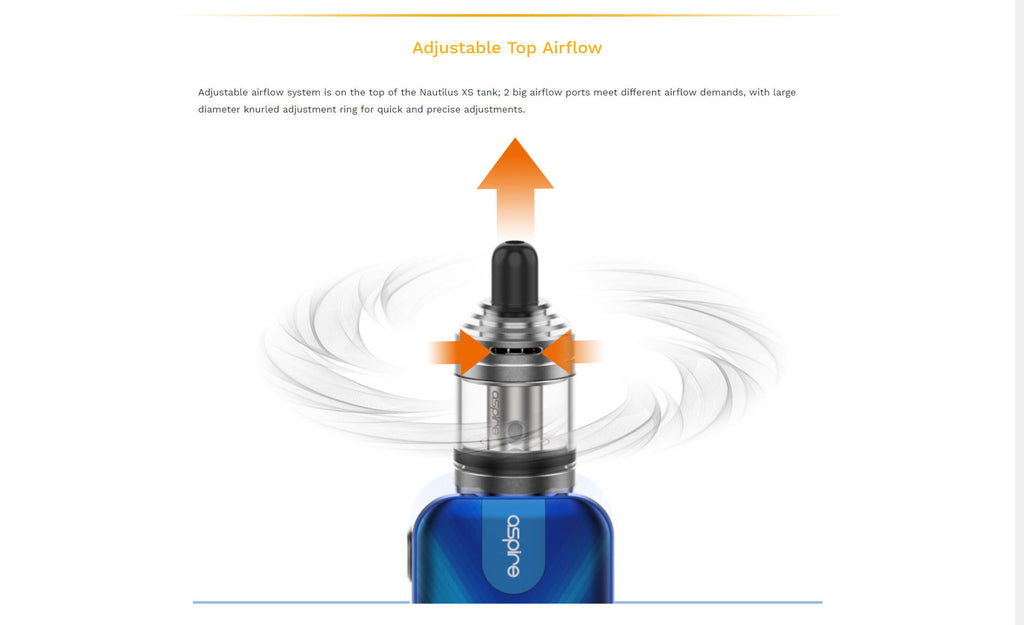 Aspire Nautilus XS Tank Adjustable Top Airflow