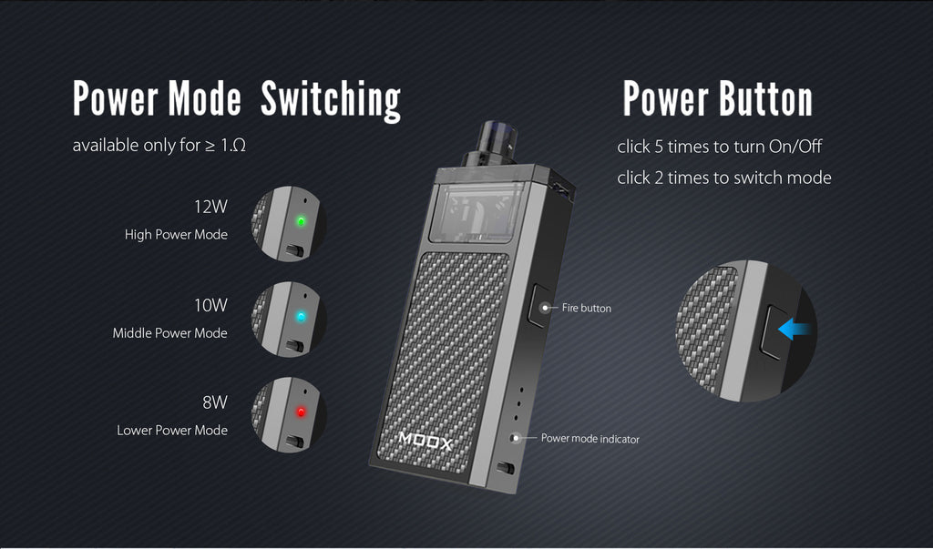 Aspire ZQ Moox 1100mAh Pod System VW Starter Kit Power Mode Switching & Power Button