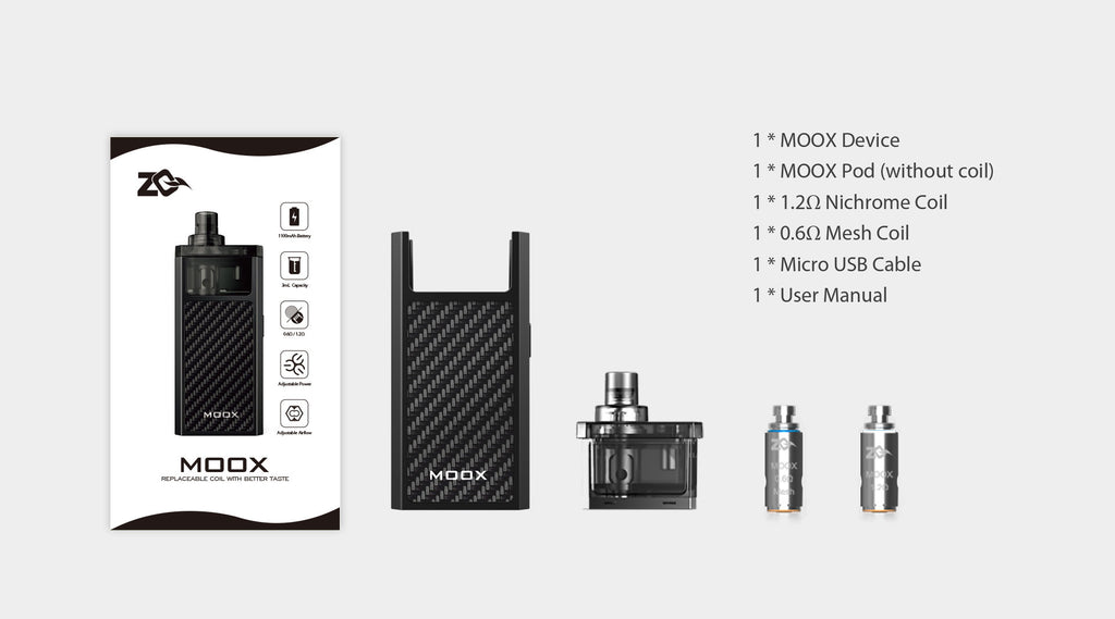 Aspire ZQ Moox 1100mAh Pod System VW Starter Kit Includes