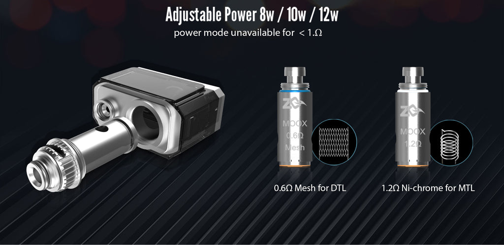 Aspire ZQ Moox 1100mAh Pod System VW Starter Kit 2 Differents Coil Head