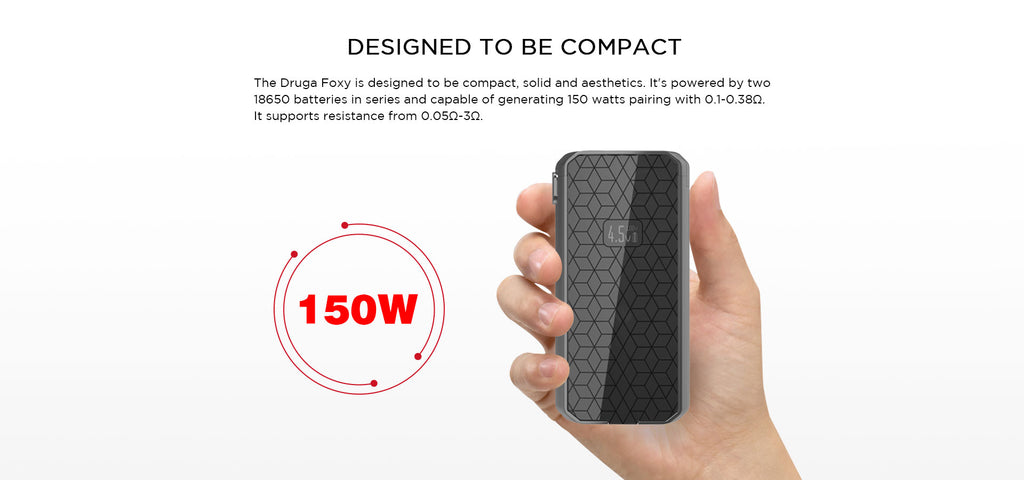 Augvape Druga Foxy VV / VW Box Mod 150W Designed To Be Compact