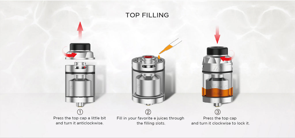 Augvape Intake RTA with Dual Coil Top Filling Steps