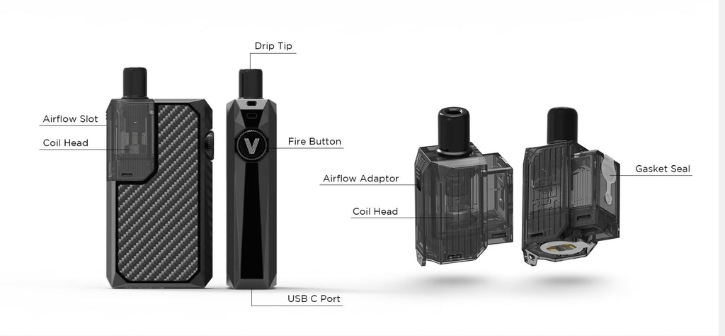 Augvape Narada Pro Pod System VW Starter Kit 30W 3.7ml Exploded View