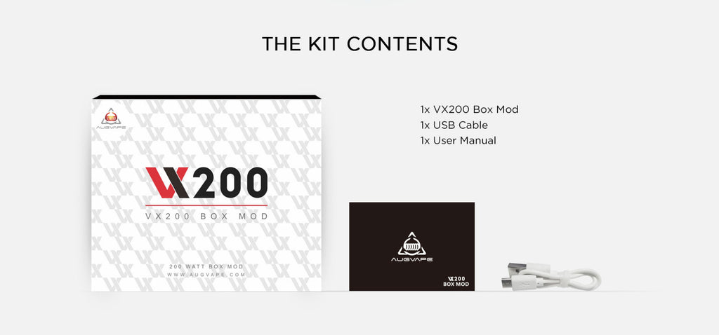 Augvape VX200 TC Box Mod Kit Contents