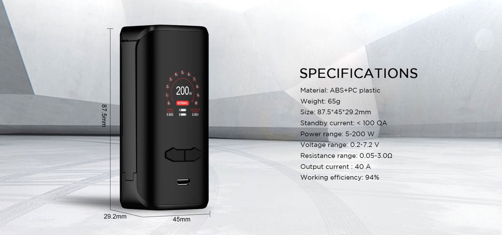 Augvape VX200 TC Box Mod Specification
