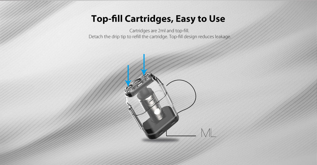 top-fill cartridges, easy to use