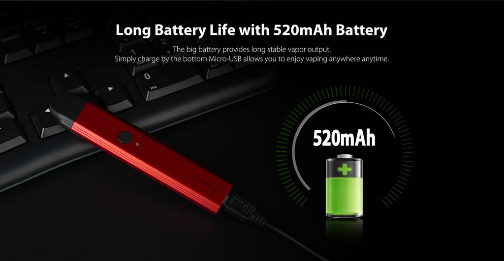 long battry life with 520mAh battery