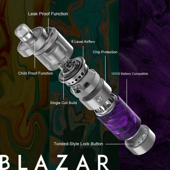 CoilART Blazar Semi-mechanical Mod Kit 2ml Exploded View
