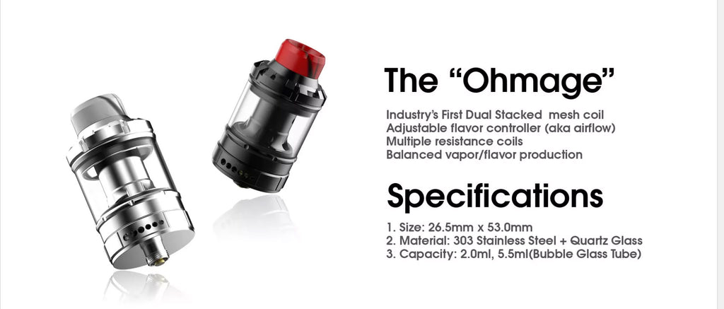 Dovpo The Ohmage Sub-ohm Tank 5.5ml 26.5mm Specifications