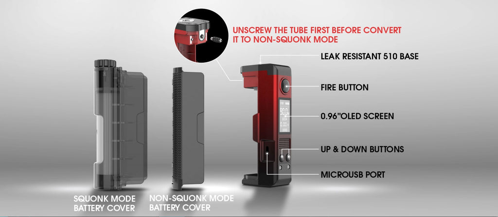Dovpo Topside Lite TC Squonk Mod Kit with Variant RDA 90W 10ml Exploded View Details