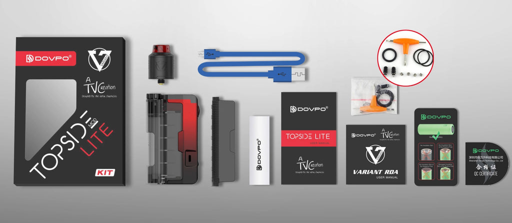 Dovpo Topside Lite TC Squonk Mod Kit with Variant RDA 90W 10ml Package Includes