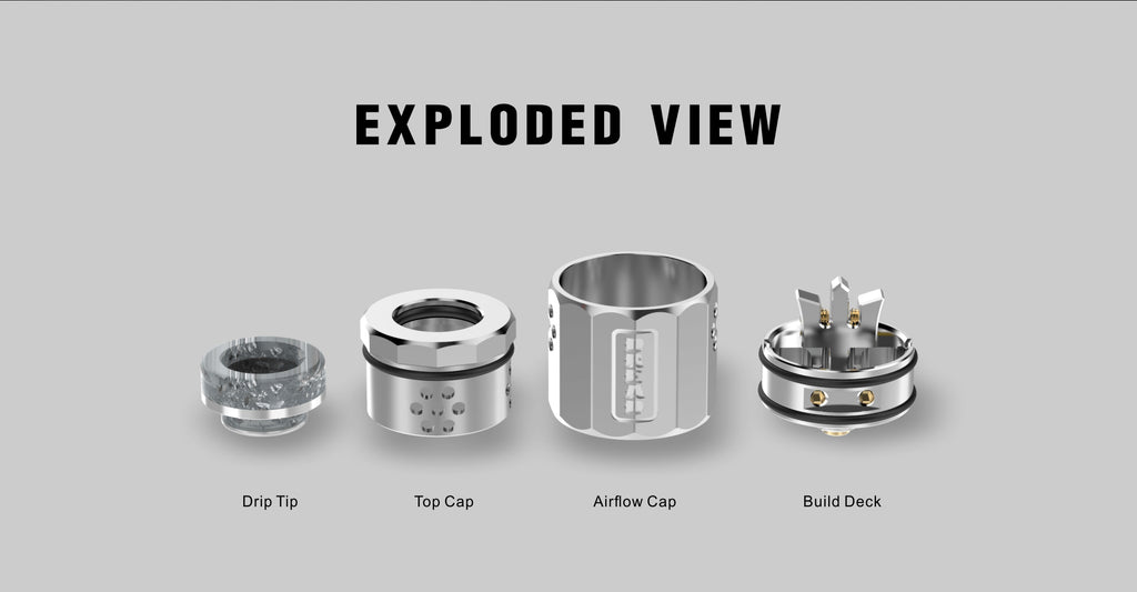 DamnVape Dread BF RDA Exploded View