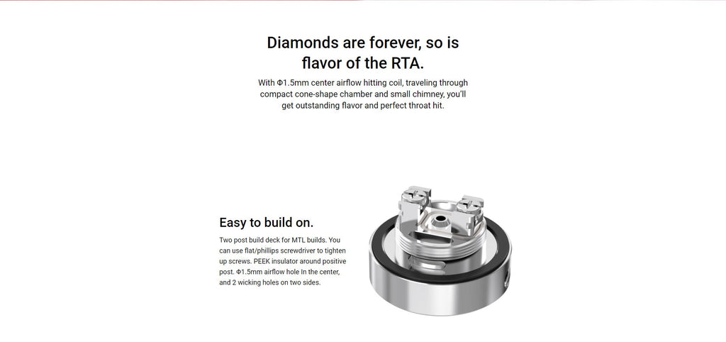 Damn Vape Diamond MTL RTA Two Post Build Deck