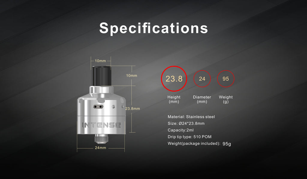 Damn Vape Intense Mesh MTL RDA 24mm Specifications