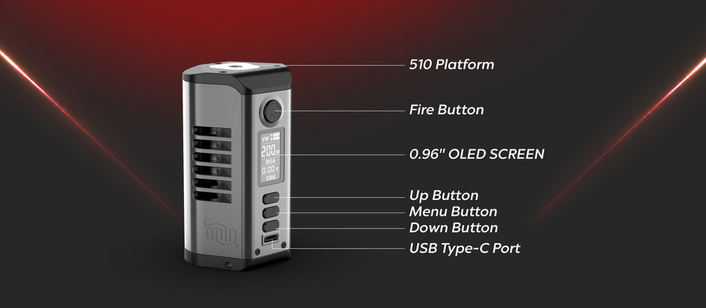 Dovpo x Vaperz Cloud Odin 200W TC Box Mod Components