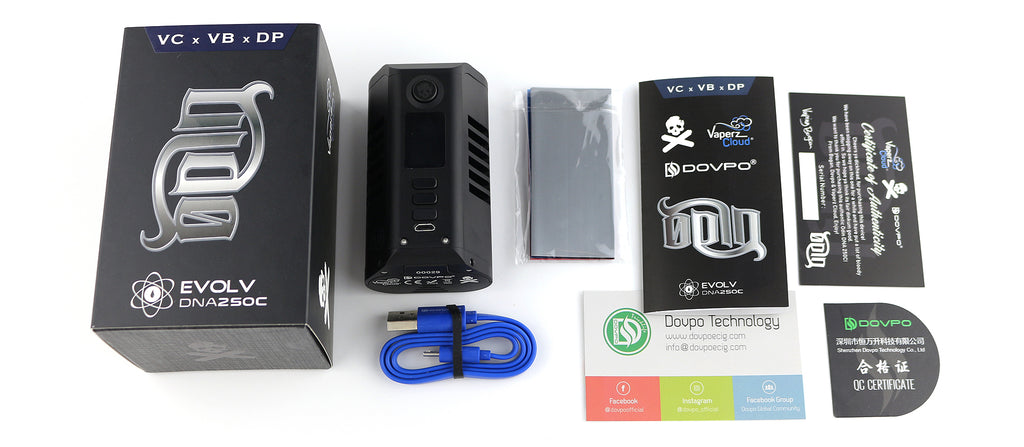 Dovpo x Vaperz Cloud Odin DNA250c TC Box Mod 200W Package Includes