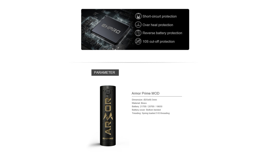 Ehpro Armor Prime Mechanical Mod Chipset & Parameter
