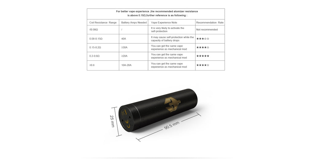Ehpro Armor Prime Mechanical Mod Resoatance & Mod Size