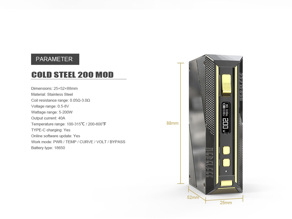 Ehpro Cold Steel 200 TC Box Mod Parameters