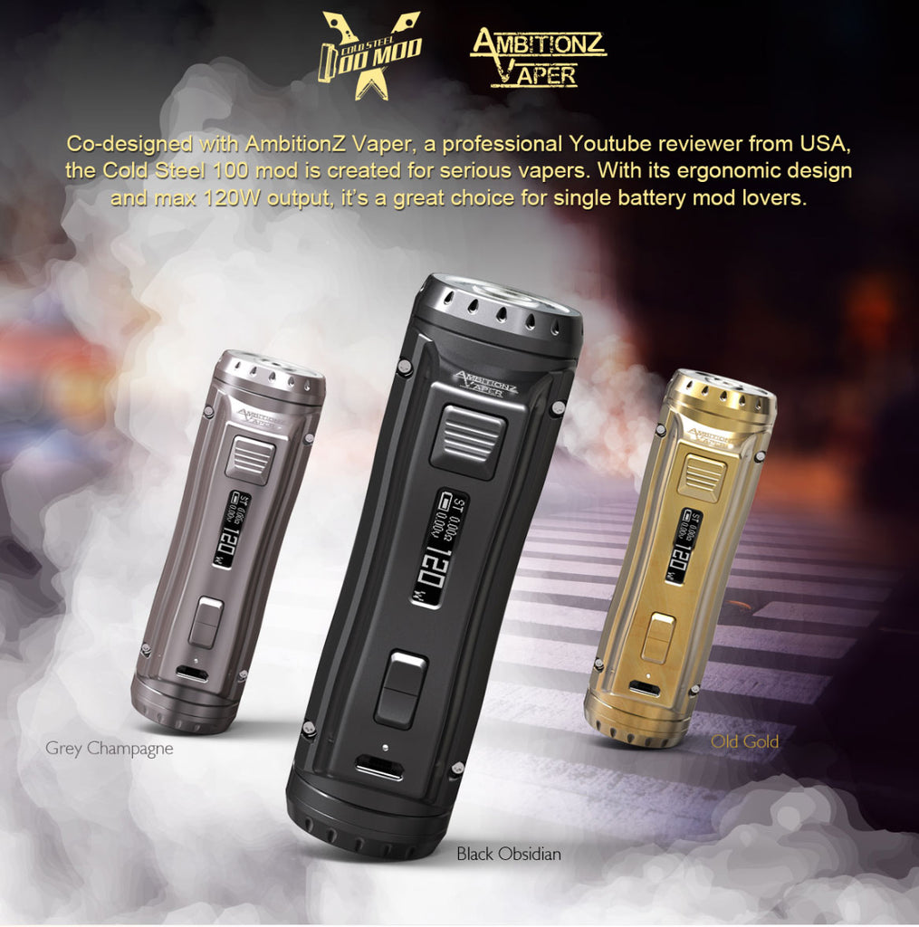 Ehpro x AmbitionZ Vaper Cold Steel 100 TC Box Mod 120W 3 Colors Optional