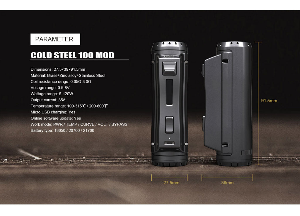 Ehpro x AmbitionZ Vaper Cold Steel 100 TC Box Mod 120W Parameter