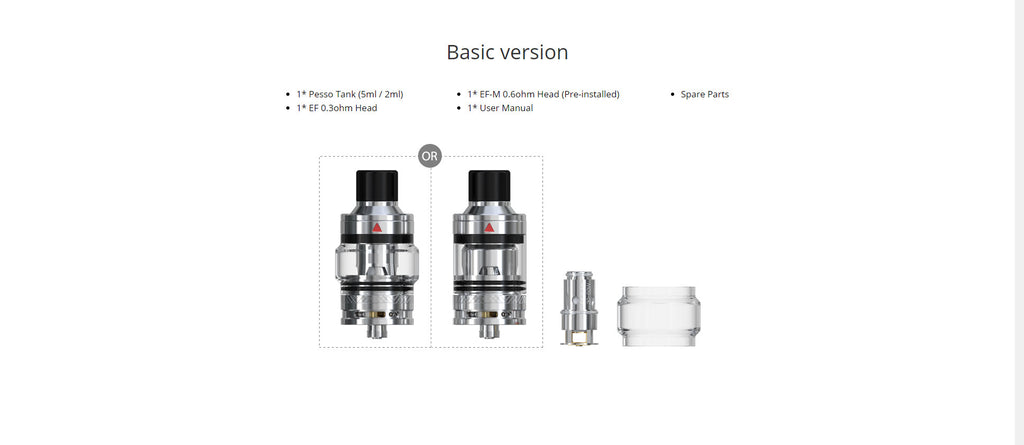 Eleaf Pesso Tank 5ml 25mm Basic Edition Package Includes