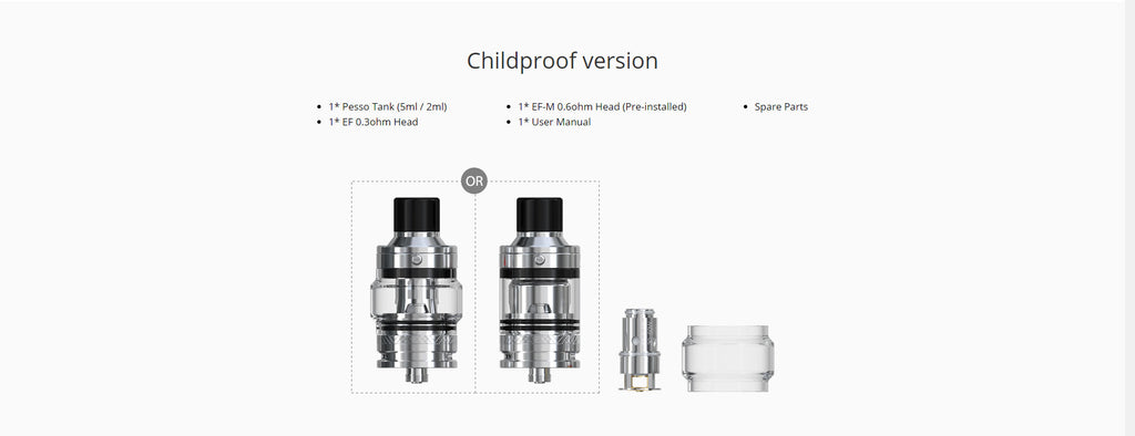 Eleaf Pesso Tank 5ml 25mm Childproof Edition Package Includes