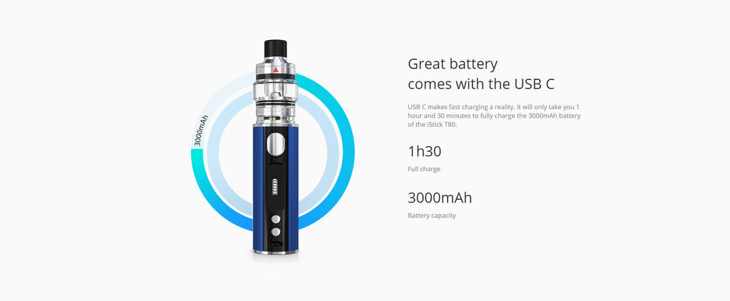 Eleaf iStick T80 VW Mod Kit 3000mAh Battery & USB C