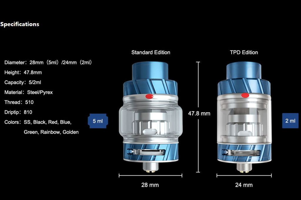 Freemax Fireluke 2 Mesh Sub-ohm Tank Specifications