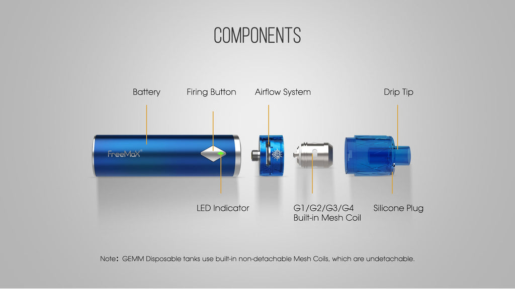 Freemax GEMM Vape Pen Kit Components