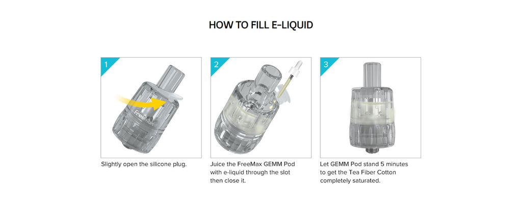 Freemax GEMM 1300mAh Vape Pen VW Starter Kit Fill ijk Step