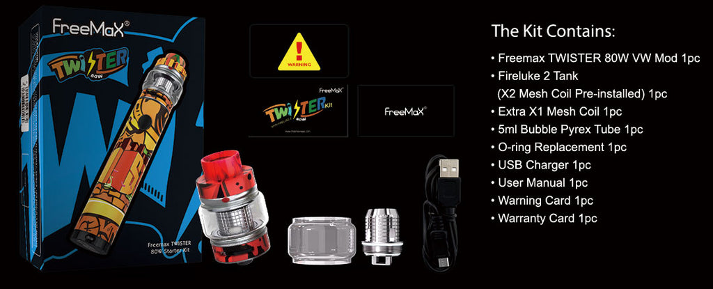Freemax Twister 80W VW Kit Contents